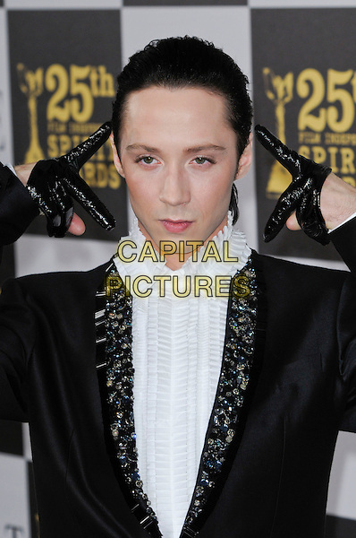 JOHNNY WEIR.The 25th Annual Film Independent Spirit Awards at the LA Live Event Deck in Los Angeles, California, USA..March 5th, 2010  .half length jacket gloves black white shirt beaded jewelled embellished lapel hand.CAP/ROT.©Lee Roth/Capital Pictures