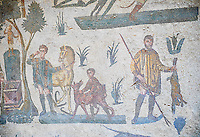 Hunters making a sacrifice to the goddess Diana from the Room of The Small Nunt, no 25 - Roman mosaics at the Villa Romana del Casale which containis the richest, largest and most complex collection of Roman mosaics in the world, circa the first quarter of the 4th century AD. Sicily, Italy. A UNESCO World Heritage Site.