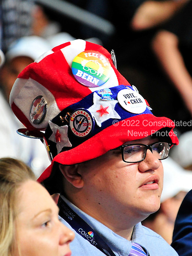 Hat worn by an unidentified delegate in the Colorado delegation at the 2016 Democratic National Convention held at the Wells Fargo Center in Philadelphia, Pennsylvania on Saturday, July 23, 2016.<br /> Credit: Ron Sachs / CNP<br /> (RESTRICTION: NO New York or New Jersey Newspapers or newspapers within a 75 mile radius of New York City)