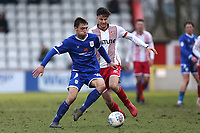 Tom Lowery of Crewe Alexandra and Jonathan Smith of Stevenage during Stevenage vs Crewe Alexandra, Sky Bet EFL League 2 Football at the Lamex Stadium on 10th March 2018