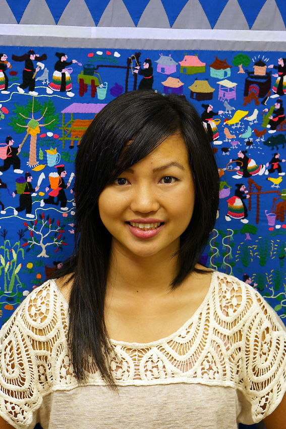 Peer Partner Pangcha Vang, a self-described Hmong mentor, poses for her portrait at Asian Pacific Community Counseling Transcultural Wellness Center in Sacramento, CA, Friday, December 12, 2015 (photo by Pico van Houtryve)