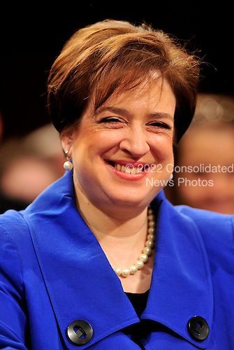 United States Solicitor General Elena Kagan smiles as she listens to opening remarks at her confirmation hearing as Associate Justice of the U.S. Supreme Court before the U.S. Senate Judiciary Committee in Washington, D.C. on Monday, June 28, 2010..Credit: Ron Sachs / CNP