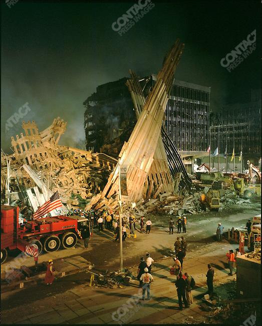 Remains of the World Trade Center, Ground Zero, New York City, New York, USA September 13, 2001