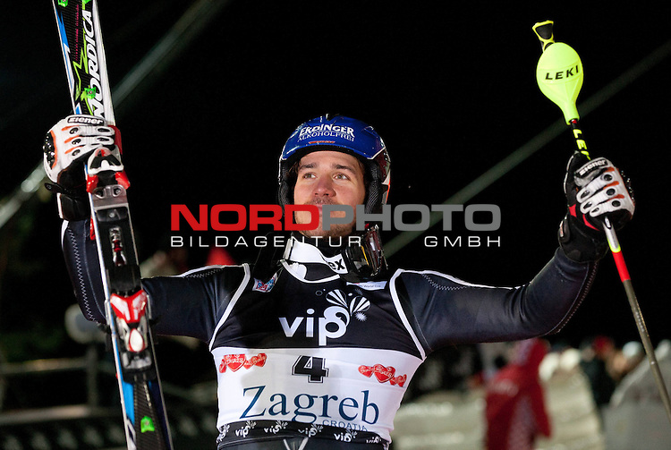 05.01.2012, Crveni Spust, Sljeme, CRO, FIS Weltcup Ski Alpin, Zagreb, Herren Slalom Podium, im Bild Second placed NEUREUTHER Felix (GER) celebrates at flower and trophy ceremony // after men Slalom race 2nd run of FIS Ski Alpine World Cup at 'Crveni Spust' course in Sljeme, Zagreb, Croatia on 2012/01/05. Foto &copy; nph /    Vid Ponikvar<br /> <br /> ***** ATTENTION - OUT OF SLO ***** *** Local Caption ***