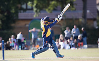 Dan Lawrence of Essex lofts a straight to the fielder at long on  Upminster CC vs Essex CCC, Benefit Match Cricket at Upminster Park on 8th September 2019