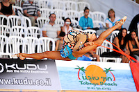 Aliya Garaeva of Azerbaijan performs with rope at 2010 Holon Grand Prix at Holon, Israel on September 3, 2010.  (Photo by Tom Theobald).