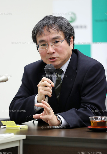 January 12, 2017, Tokyo, Japan - Japan's nuclear watchdog Nuclear Regulation Authority's (NRA) new Secretary General Masaya Yasui speaks before press at the NRA headquarters in Tokyo on Thursday, January 12, 2017. Former Ministry of Economy, Trade and Industry bureaucrat installed the position on January 6 .   (Photo by Yoshio Tsunoda/AFLO) LWX -ytd-