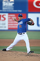 Tyler Pill (20) of the Las Vegas 51s pitches against the Sacramento River Cats at Cashman Field on June 15, 2017 in Las Vegas, Nevada. Las Vegas defeated Sacramento, 12-4. (Larry Goren/Four Seam Images)