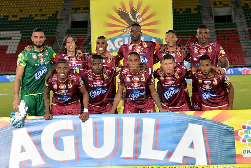 IBAGUE-COLOMBIA,10 -08-2018.Formación del Deportes Tolima.Acción de juego entre el Deportes Tolima y Jaguares de Córdoba durante partido por la fecha 4 de la Liga Águila II 2018 jugado en el estadio Manuel Murillo Toro de la ciudad de Ibagué./ Team of Deportes Tolima.Action game between Depores Tolima and  Jaguares during the match for the date 4 of the Aguila League II 2018 played at Manuel Murillo Toro  stadium in Ibague city. Photo: VizzorImage/ Juan Carlos Escobar / Contribuidor