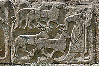 Pictures & Images Hittite relief sculpted orthostat panels of the Sphinx Gate. Panel depicts a man leading goats to be sacrificed. Alaca Hoyuk (Alacahoyuk) Hittite archaeological site  Alaca, Çorum Province, Turkey, Also known as Alacahüyük, Aladja-Hoyuk, Euyuk, or Evuk