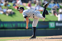Pitcher Connor Kendrick (17) of the Charleston RiverDogs delivers a pitch in a game against the Greenville Drive on Sunday, June 28, 2015, at Fluor Field at the West End in Greenville, South Carolina. Charleston won, 12-9. (Tom Priddy/Four Seam Images)
