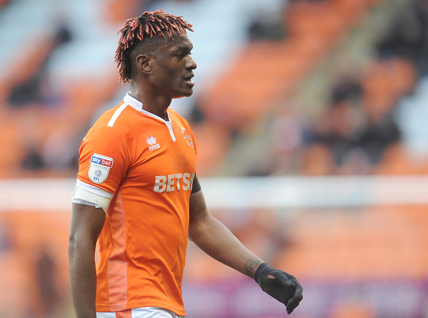 Blackpool's Armand Gnanduillet<br /> <br /> Photographer Kevin Barnes/CameraSport<br /> <br /> The EFL Sky Bet League One - Blackpool v Walsall - Saturday 9th February 2019 - Bloomfield Road - Blackpool<br /> <br /> World Copyright © 2019 CameraSport. All rights reserved. 43 Linden Ave. Countesthorpe. Leicester. England. LE8 5PG - Tel: +44 (0) 116 277 4147 - admin@camerasport.com - www.camerasport.com