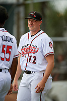 Richmond Flying Squirrels Sam Wolff (12) before an Eastern League game against the Binghamton Rumble Ponies on May 29, 2019 at The Diamond in Richmond, Virginia.  Binghamton defeated Richmond 9-5 in ten innings.  (Mike Janes/Four Seam Images)