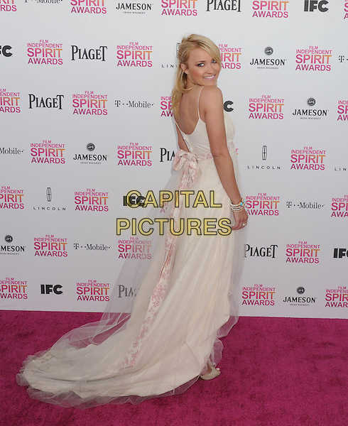 Emily Osment.2013 Film Independent Spirit Awards - Arrivals Held At Santa Monica Beach, Santa Monica, California, USA,.23rd February 2013..indy indie indies indys full length white dress looking over shoulder sheer .CAP/ROT/TM.© TM/Roth/Capital Pictures