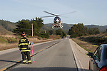 resuce helicopter on Coast Highway One, Pescadero