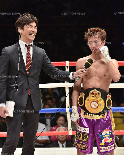 (R-L) Ryoichi Taguchi (JPN), Ryusuke Itagaki,<br /> MAY 6, 2015 - Boxing :<br /> Ryoichi Taguchi of Japan is interviewed by TV Tokyo announcer Ryusuke Itagaki on the ring after winning the WBA light flyweight title bout at Ota-City General Gymnasium in Tokyo, Japan. (Photo by Hiroaki Yamaguchi/AFLO)