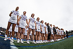 STONY BROOK, NY - A general view of the James Madison Dukes during the national anthem ahead of the Division I Women's Lacrosse Championship held at Kenneth P. LaValle Stadium on May 27, 2018 in Stony Brook, New York. (Photo by Ben Solomon/NCAA Photos via Getty Images)