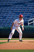 Ball State Cardinals Trent Theisen (15) leads off first base during a game against the Louisville Cardinals on February 19, 2017 at Spectrum Field in Clearwater, Florida.  Louisville defeated Ball State 10-4.  (Mike Janes/Four Seam Images)