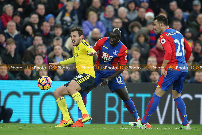 Christian Stuani of Middlesbrough holds off Mamadou Sakho of Crystal Palace during Crystal Palace vs Middlesbrough, Premier League Football at Selhurst Park on 25th February 2017