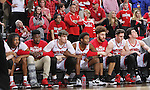 SIOUX FALLS, SD: MARCH 6: The South Dakota bench reacts in the final seconds against South Dakota State during the Summit League Basketball Championship on March 6, 2017 at the Denny Sanford Premier Center in Sioux Falls, SD. (Photo by Dave Eggen/Inertia)