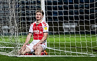 Fleetwood Town's Harvey Saunders ends up in the back of the net after a near miss<br /> <br /> Photographer Andrew Kearns/CameraSport<br /> <br /> The EFL Sky Bet League One - Wycombe Wanderers v Fleetwood Town - Tuesday 11th February 2020 - Adams Park - Wycombe<br /> <br /> World Copyright © 2020 CameraSport. All rights reserved. 43 Linden Ave. Countesthorpe. Leicester. England. LE8 5PG - Tel: +44 (0) 116 277 4147 - admin@camerasport.com - www.camerasport.com