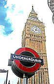"London, GBR - August 7, 2005 -- Sign for the Westminster Underground Station in front of the Clock Tower of the Palace of Westminster, popularly known as ""Big Ben""  in London, Great Britain, on August 7, 2005. This station is one of the closest to the houses of Parliament..Credit: Ron Sachs / CNP"
