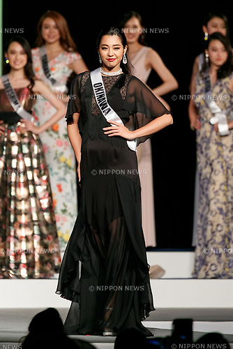 Miss Okinawa, Taira Erea, competes in an evening gown during Miss Universe Japan competition at Hotel Chinzanso Tokyo on July 4, 2017, Tokyo, Japan. Momoko Abe from Chiba who won the title will represent Japan in the next Miss Universe competition. (Photo by Rodrigo Reyes Marin/AFLO)