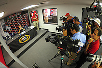 May 30, 2008; Dover, DE, USA; Nascar Nationwide Series driver Joey Logano is interviewed following practice for the Heluva Good 200 at the Dover International Speedway. Mandatory Credit: Mark J. Rebilas-US PRESSWIRE