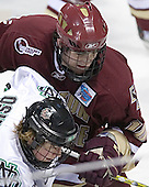 TJ Oshie, Brian Boyle - The Boston College Eagles defeated the University of North Dakota Fighting Sioux 6-5 on Thursday, April 6, 2006, in the 2006 Frozen Four afternoon Semi-Final at the Bradley Center in Milwaukee, Wisconsin.