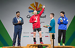 Wales Gareth Evans celebrates winning Gold in the Mens 69kg <br /> <br /> *This image must be credited to Ian Cook Sportingwales and can only be used in conjunction with this event only*<br /> <br /> 21st Commonwealth Games - Weightlifting -  Day 2 - 06\04\2018 - Carrara Sports Arena 1 - Gold Coast City - Australia
