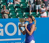 June 18th 2017, Nottingham, England; WTA Aegon Nottingham Open Tennis Tournament day 7 finals day;  Donna Vekic of Croatia kisses the Elena Baltacha trophy after her match with Johanna Konta of Great Britain