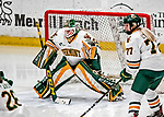 9 February 2018: University of Vermont Catamount Goaltender Sydney Scobee, a Sophomore from Minnetrista, MN, in third period action on her way to a shutout against the University of Connecticut Huskies at Gutterson Fieldhouse in Burlington, Vermont. The Lady Cats won 1-0 the first game and tied the second game 0-0 in their weekend Hockey East series. Mandatory Credit: Ed Wolfstein Photo *** RAW (NEF) Image File Available ***