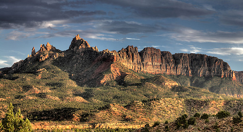 Panorama of Eagle Crags during sunset just outside of Zion National Park in Southern Utah