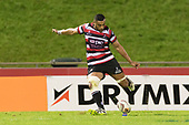 Jimmy Tupou converts Baden Kerrs try.Mitre 10 Cup game between Counties Manukau Steelers and Tasman Mako's, played at ECOLight Stadium Pukekohe on Saturday October 14th 2017. Counties Manukau won the game 52 - 30 after trailing 22 - 19 at halftime. <br /> Photo by Richard Spranger.