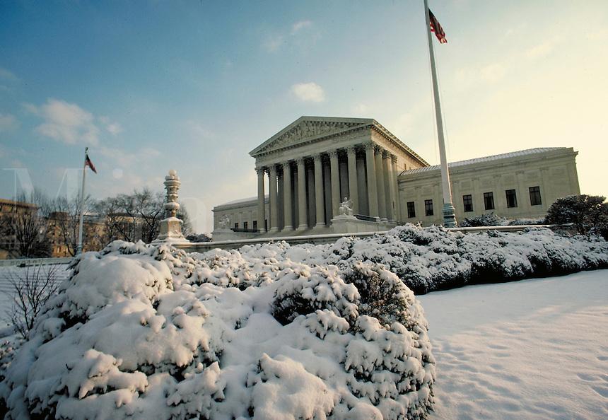 US Supreme Court with snow. Washington, DC. Washington DC USA.