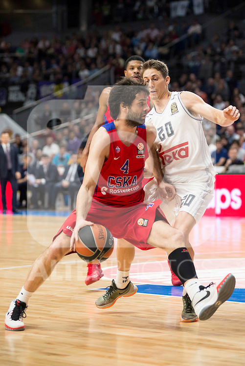 CSKA Moscu's player Teodosic and Real Madrid's player Jaycee Carroll during the match between Real Madrid and CSKA Moscu of Turkish Airlines Euroleague at Barclaycard Center in Madrid, March 02, 2016. (ALTERPHOTOS/BorjaB.Hojas) during the match between Real Madrid and CSKA Moscu of Turkish Airlines Euroleague at Barclaycard Center in Madrid, March 02, 2016. (ALTERPHOTOS/BorjaB.Hojas)