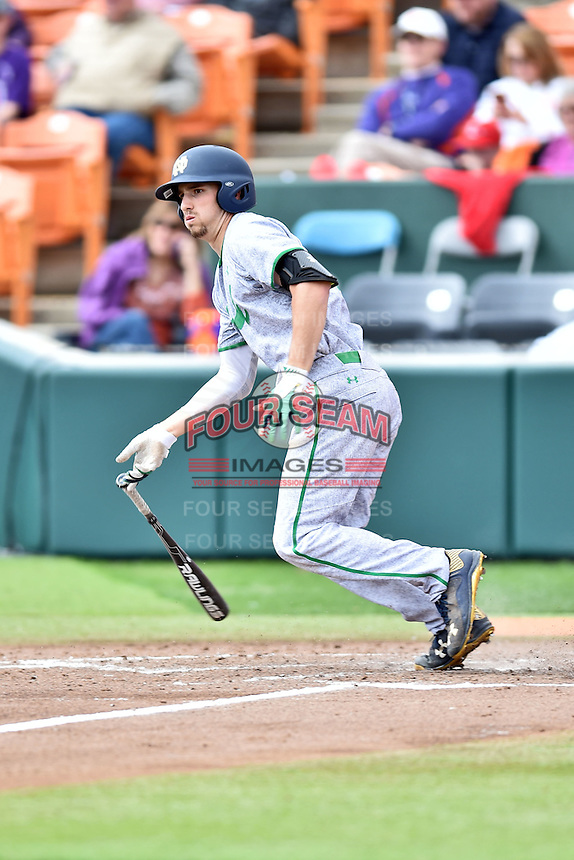 Notre Dame Fighting Irish shortstop Lane Richards (4) swings at a pitch during a game against the Clemson Tigers during game one of a double headers at Doug Kingsmore Stadium March 14, 2015 in Clemson, South Carolina. The Tigers defeated the Fighting Irish 6-1. (Tony Farlow/Four Seam Images)