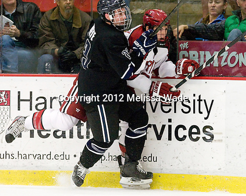 Alex Grieve (Bentley - 23), Patrick McNally (Harvard - 8) - The Harvard University Crimson defeated the visiting Bentley University Falcons 5-0 on Saturday, October 27, 2012, at Bright Hockey Center in Boston, Massachusetts.