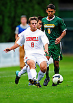 12 September 2010: Cornell University Big Red forward Chase Aaronson, a Junior from Palm Springs, CA, in action against the University of Vermont Catamounts at Centennial Field in Burlington, Vermont. The Catamounts edged out the Big Red 2-1. Mandatory Credit: Ed Wolfstein Photo