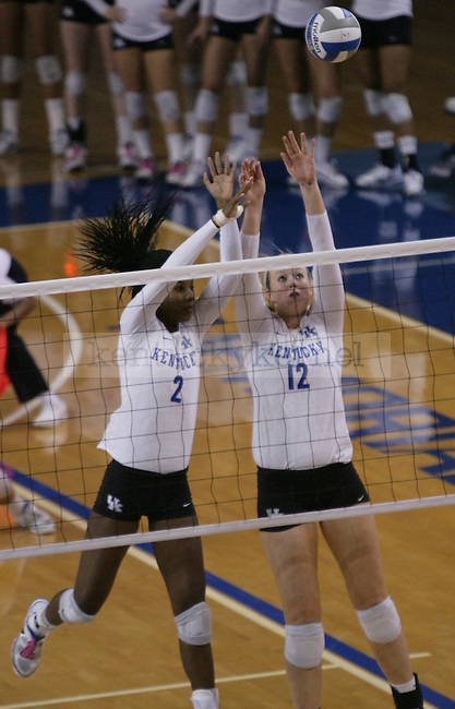 Junior Alexandra Morgan (2) and Sophomore Lauren O'Conner (12) go up for a block during the University of Kentucky vs Ohio State University in the second round of the NCAA Volleyball Tournament in Lexington, Ky., on, 12/1/2012. Photo by Jared Glover | Staff