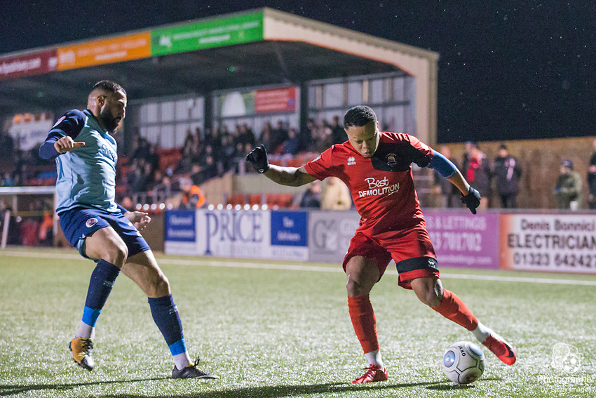 Aryan Tajbakhsh (Crawley) & Gavin McCallum (Eastbourne) during Parafix Sussex Senior Cup Quarter Final between Eastbourne Borough FC & Crawley Town FC on Tuesday 09 January 2018 at Priory Lane. Photo by Jane Stokes (DJ Stotty Images)