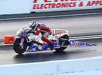 May 30, 2014; Englishtown, NJ, USA; NHRA pro stock motorcycle rider Hector Arana Sr during qualifying for the Summernationals at Raceway Park. Mandatory Credit: Mark J. Rebilas-