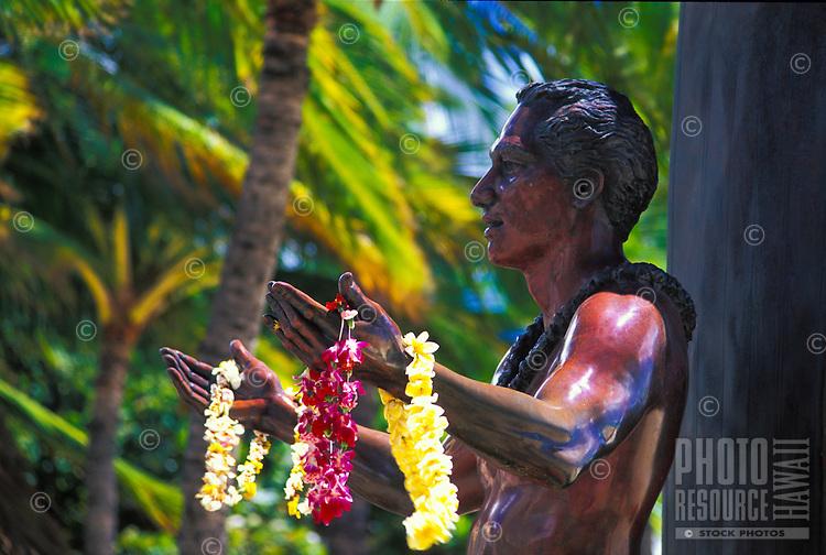 Statue of Hawaiian surfing legend Duke Kahanamoku on Waikiki Beach.