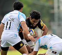 High Wycombe, England. Billy Vunipola of London Wasps in action during the Aviva Premiership match between London Wasps and Worcester Warriors at Adam Park on October 7, 2012 in High Wycombe, England.