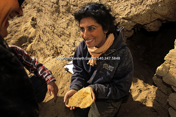 Salima Ikram discovers the Plaster of Horus of Uu, Uu means agricultural land, found in wall at Muhammed Tuleib, trade route; Darb el-Arbaein; Egypt; Archaeologist; Salima Ikram; Kharga Oasis;Ancient Cultures; mm7195; Desert; Oasis
