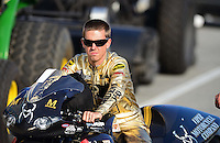 Oct. 5, 2012; Mohnton, PA, USA: NHRA pro stock motorcycle rider Michael Ray during qualifying for the Auto Plus Nationals at Maple Grove Raceway. Mandatory Credit: Mark J. Rebilas-