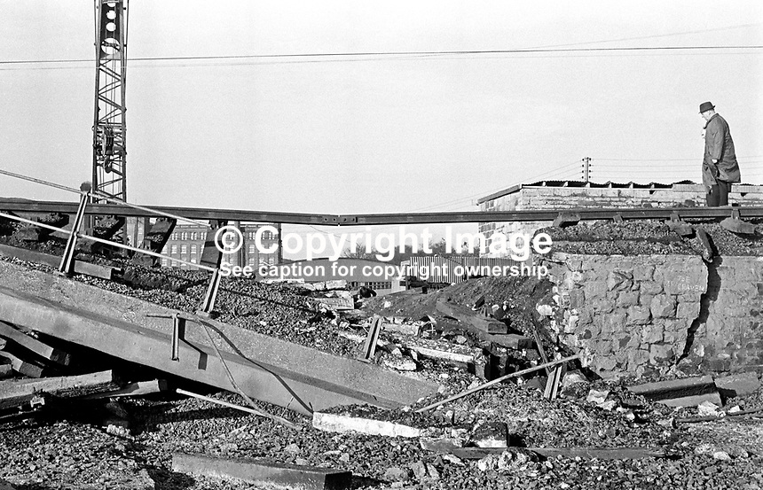 An estimated 500 lb bomb has caused major structural damage to a railway bridge at Whitehouse, Co Antrim, on the main Belfast-Londonderry rail line. 197312130698b.<br />