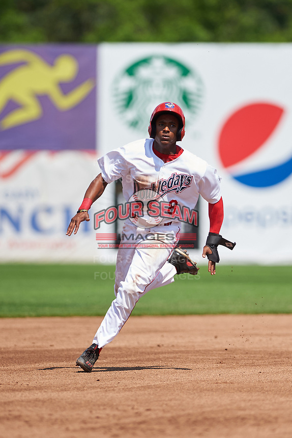 Auburn Doubledays center fielder Armond Upshaw (8) running the bases during the second game of a doubleheader against the Mahoning Valley Scrappers on July 2, 2017 at Falcon Park in Auburn, New York.  Mahoning Valley defeated Auburn 3-2.  (Mike Janes/Four Seam Images)