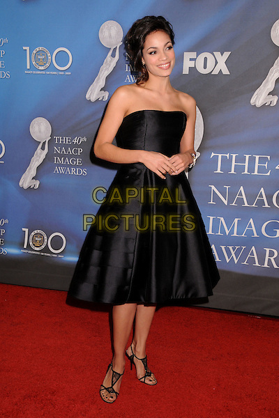 ROSARIO DAWSON.40th Annual NAACP Image Awards - Arrivals at the Shrine Auditorium, Los Angeles, California, USA..February 12th, 2009.full length black silk satin strapless dress sandals shoes .CAP/ADM/BP.©Byron Purvis/AdMedia/Capital Pictures.