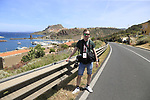 Photographer Thomas Van Bracht at Castelsardo along the Costa Smeralda during Stage 1 of the 100th edition of the Giro d'Italia 2017, running 206km from Alghero to Olbia, Sardinia, Italy. 4th May 2017.<br /> Picture: Eoin Clarke | Cyclefile<br /> <br /> <br /> All photos usage must carry mandatory copyright credit (&copy; Cyclefile | Eoin Clarke)<br /> <br /> All photos usage must carry mandatory copyright credit (&copy; Cyclefile | LaPresse)